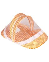 Littly Contemporary Cotton Baby Bedding Set with Foldable Mattress, Mosquito Net and Pillow, Polka, Orange- Amazon
