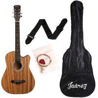 Juarez JRZ 38C/Zeb 38-inch Cutaway Right Handed Acoustic Guitar (Zebrawood, 6-Strings)- Amazon