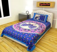 RajasthaniKart Classic 144 TC Cotton Single Bedsheet with Pillow Cover - Abstract, Blue- Amazon