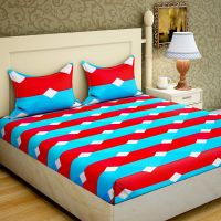 HomeARC 144 TC Polyester Double Bedsheet with 2 Pillow Covers - Multicolour- Amazon