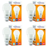 Wipro Garnet Base B22 10-Watt LED Bulb (Pack of 4, Cool Day White)- Amazon
