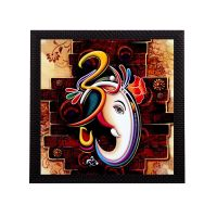 eCraftIndia Om Ganesha Design Satin Matt Texture Framed Synthetic Wood UV Art Painting (35.6 cm x 1.3 cm x 35.6 cm)- Amazon