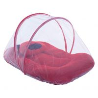 Cutieco Soft and Comfortable New Born Baby Bedding Set with Protective Mosquito Net and Pillow, Red- Amazon
