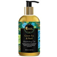 Oriental Botanics Bath & Body Oil (Green Tea & Basil) - 200ml - No Mineral Oil- Amazon