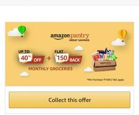 Pantry Rs. 150 cashback on Rs. 1500 order for all user..