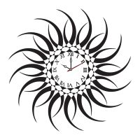 Syga Sun Design PVC Vinyl Wall Clock (35 cm x 17 cm x 5 cm, Black)- Amazon