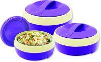 Princeware Solar Plastic Casserole Set, 3-Pieces, Violet- Amazon