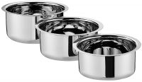 Amazon Brand - Solimo Stainless Steel 3-Piece Tope Set Without Lid- Amazon