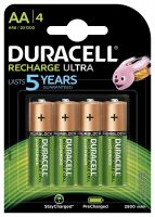Duracell Ultra 5000688 AA Rechargeable Batteries 2500 mAh (Pack of 4, Green)- Amazon