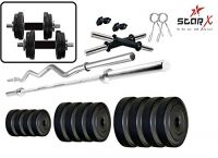 StarX Unisex PVC Weights Home Gym Exercise Set of 24KG with 2 Dumbbell Rods and 4Ft Straight Rod and 3Ft Curl Rod (24)- Amazon