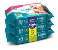Snuggles Baby Wet Wipes with Aloe Vera and Vitamin E, 72 Pcs/Pack (Pack of 3)- Amazon