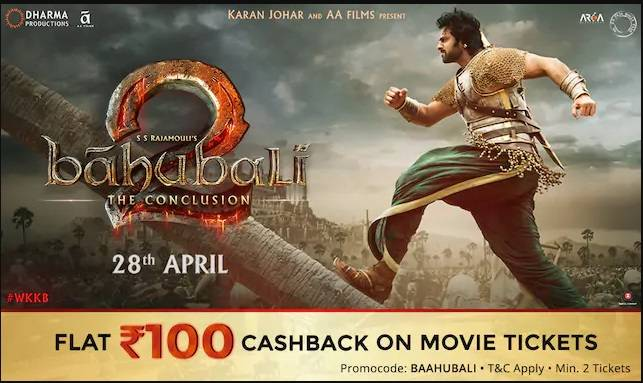 Flat Rs.100 Cashback on Movie Tickets Booking Baahubali.