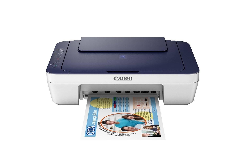 Canon Pixma E477 All-in-One InkJet Wifi Printer, Print, scan and copy (White/Blue)