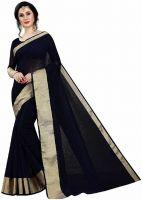 ArraybluePlain Kota Doria Black Cotton Saree  (Black)- Flipkart