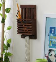 Brown Wooden Letter Rack Cum Key Holder by Art of Jodhpur- Pepperfry