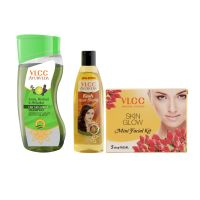 VLCC Ayurveda Hair Fall Control Shampoo, Ayurveda Hair Oil and Facial Kit Combo- Amazon