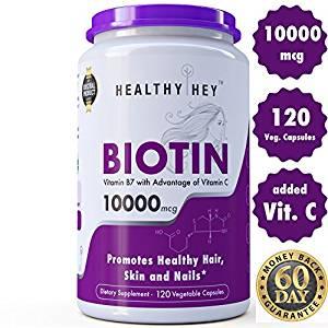 Healthyhey Nutrition Biotin Maximum Strength 10000 Mcg + Vitamin C - 120 Vegetable Capsules Rs.750 - Amazon