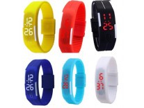 Glitter Collection LED Band watch Pack of 6 at Rs.379 - Amazon
