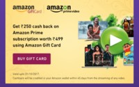 Get Rs250 cash back on Amazon prime subscription worth Rs499 using Amazon gif...