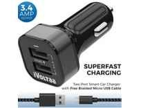 iVoltaa 3.4A Dual Port Rapid Car Charger with Free Braided Charging Cable Rs. 381 - Amazon