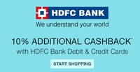 10% Cashback (Max. Rs.300) Using HDFC Debit & Credit Cards