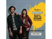 Pepe Jeans Clothing 60% to 80% off from Rs. 179 - Amazon