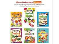A Free Board Book of Vegetables(Worth Rs.80) on a Combo Set of Board Book of Alphabets,Numbers,Fruits,Flowers and Vehicles by Aadi Learning Arena Board book Rs. 106 - Amazon