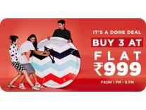Clothing, Footwear & Accessories Buy any 3 at Rs. 999 @ Jabong